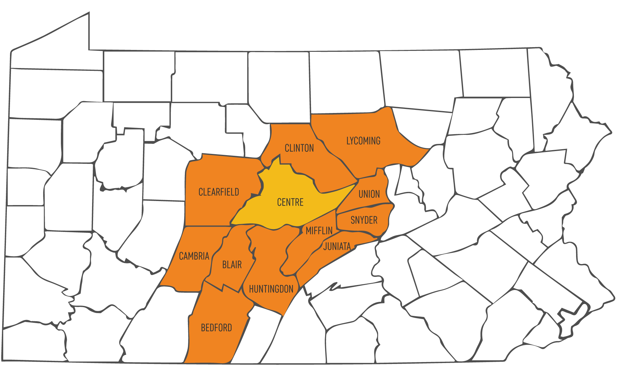 Services Area Map - Centre County, Clinton County, Lycoming County, Union County, Snyder County, Mifflin County, Juniata County, Huntingdon County, Bedford County, Blair County, Cambria County, and Clearfield County